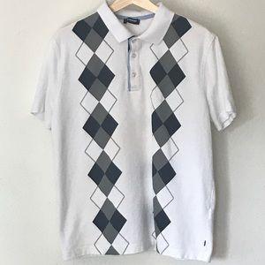 LC Waikiki Argyle White Blue Polo Shirt Size Large